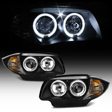 For Halogen Model 2008-2013 BMW E87 128i 135i Blk LED Halo Projector Headlights