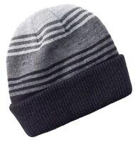 *NEW Apt. 9 Striped Reversible Cuffed Winter Beanie Ski Cap Hat Black & Gray O/S