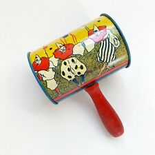 Vintage Tin Noise Maker - Antique Litho - Wood Handle - Clowns & New Years Eve