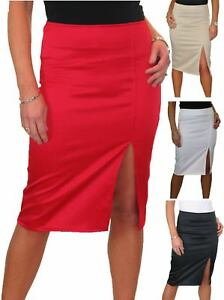 Ladies Front Slit Evening Bodycon Satin Look Pencil Skirt Party 6-18