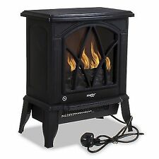 1800w Electric Fireplace Wood Burner Cast Effect Log Heater Stove Black Fire Fan