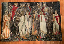 Vintage Medieval Flemish Wall Tapestry Horses And Maidens Belgium 40 X 26