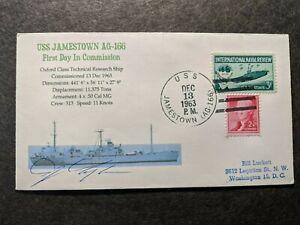 USS JAMESTOWN AG-166 Naval Cover 1963 SIGNED Cachet
