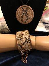 "Rattlesnake Skin Necklace & Cuff Bracelet Both 2 1/4""Diameter Black Cord &brass"