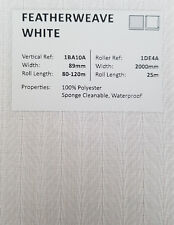 """89mm (3.5"""") VERTICAL BLIND FABRIC. FULL ROLL. 100M. FEATHERWEAVE WHITE"""