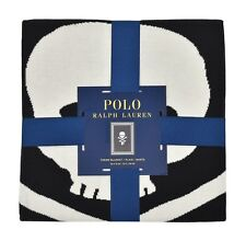 "Ralph Lauren Polo Black Skull & Crossbones 50"" x 70"" Throw Blanket New"
