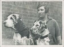 1926 Woman With Her Prize Winning Great Dane Dogs Press Photo