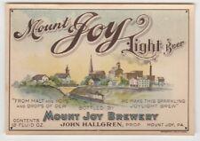 Mount Joy Light Beer LABEL PRE-PROHIBITION Mount Joy Brewery PA John Hallgren