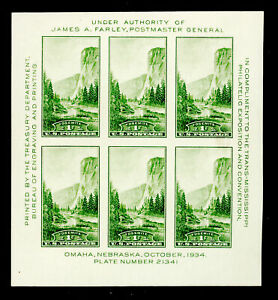 SCOTT 751 1 CENT 1934 YOSEMITE NATIONAL PARK SOUVENIR SHEET MNH OG VF CAT $15