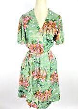 True Vintage 60s 70s Wrap Dress Dress Asian Crane Garden Botanical Flutter SL