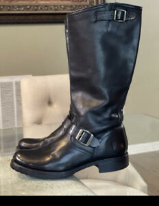 $368 Frye •Veronica Slouch•Riding Motorcycle Leather WomenS Boots 10B
