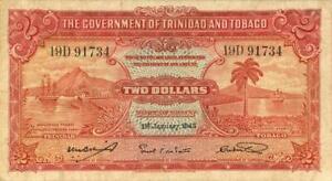 Trinidad & Tobago $2 Dollars Currency Banknote 1943