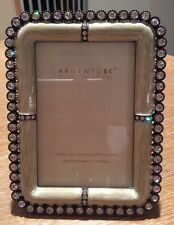 "ARGENTO SC 4.5"" x 6"" SWAROVSKI CRYSTALS ENAMELED PICTURE FRAME WHITISH ECRU NEW"