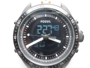 Fossil chronograph men's White rubber band,quartz,Analog& battery watch.BQ-9414