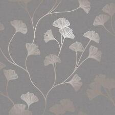 Scintillant Ginkgo Papier Peint Gris/Doré Rose - Holden 12702
