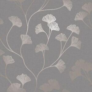 Glistening Ginkgo Carta da Parati Grigio / Oro Rosa - Holden 12702