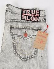 NEW Men's True Religion Jeans RICKY Super T Relaxed Straight Size 40 Grey white