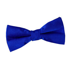 DQT Satin Plain Solid Royal Blue Communion Page Boys Pre-Tied Bow Tie