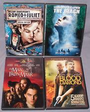 Leonardo DiCaprio DVD LOT: Beach/Romeo & Juliet/Blood Diamond/Man in Iron Mask