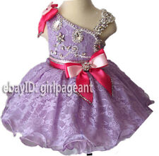 Infant/toddler/baby Lilac Crystals Lace Pageant Gliz Dress 9~12 Months EB2008D