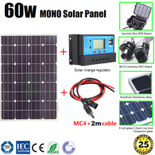 60W 12V MONO SOLAR PANEL KIT INCL. SOLAR CHARGE REGULATOR AND PAIR MC4 2m CABLE