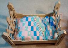 Vintage Folk Art Wood Doll Bed of Picket & Slot Construction Quilt Mat Old Paint