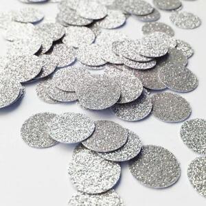 """Confetti 1"""" Paper Circles Silver Glitter Wedding Birthday Party Decor"""