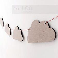 Wooden Bunting Cloud Flags Nursery Craft Garland Blanks MDF Wood Shapes