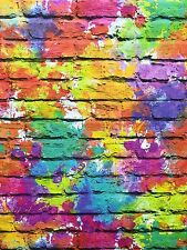 Feature Wallpaper 3D Multicoloured Printed Brick Effect Funky Modern Aged Wall