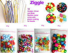Wooden Beads Pastel Bright multi Colored Pearls Soft Wires Beads craft kit gift