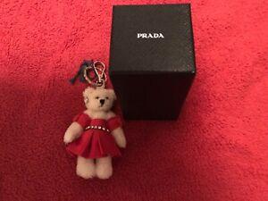 NIB Prada Charlotte Swarovski Crystal Bear Keychain Bag $380