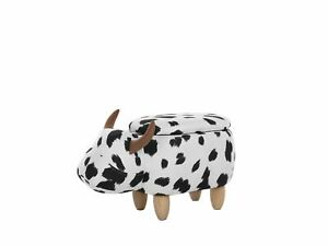 Modern Fabric Stool Black and White Upholstery Solid Wood Animal Cow