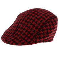 Baby Kids Plaid Beret Cap Boys Infant Toddler Cotton Newsboy Peaked Flat Hat