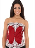 Women's Victorian Lace Corset Red Top Size  10 12