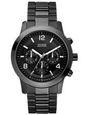 New Guess W15061G1 Chrono Multi Dial Stainless Black IP Band Date Watch