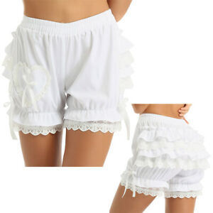 Womens Tiered Ruffles Victorian Gothic Lace Pumpkin Shorts Pants Bloomers Shorts