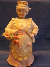 3pt8 ANTIQUE PORCELAIN BISQUE FIGURE NODDER BOBBLE HEAD NODS VICTORIAN LADY COOK