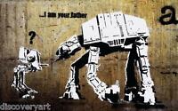 Banksy I am your Farther Star Wars AT-AT Canvas Graffiti Wall Art Poster Print