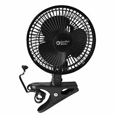 Clip-On Fan, Adjustable, 2-Speed, 6- Inch, Black, Steel Grill, Quiet, Desk, NEW