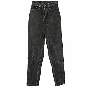 "80s Vintage Levi's 512 Slim Tapered Black Denim High Waist Jeans USA Red Tab 29"""