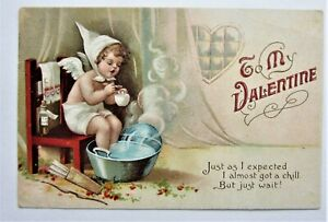 Clapsaddle CUPID Warms Up 'To My VALENTINE' Embossed IAP Postcard