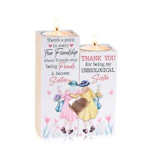 2x Best Friends Tea Lights Candles Holder Night Heart Ornament Decor Gift Xmas