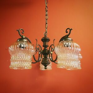 Bronze alloy and wood chandelier with glass shades pendant light