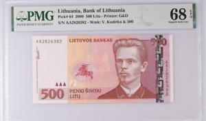 Lithuania 500 Litu 2000 P 64 Superb Gem UNC PMG 68 EPQ Top Pop