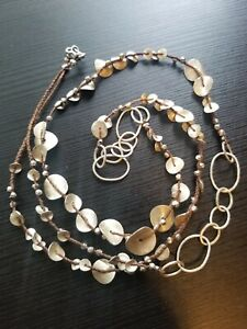 """Colleen Lopez 40"""" Sterling Silver Undulating Disc Corded Necklace"""