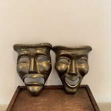 Vintage Brass Comedy Tragedy Masks Wall Decor Theater Drama Happy Sad Faces 5 in