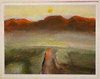 """Gouache von Ursula Bankroth """"Landschaft orange"""" 2004 Malerei Kunst sf"""