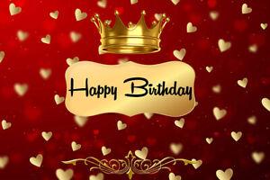 Happy Birthday Studio Backdrop 7X5FT Vinyl Gold Crown Hearts Photo Background LB