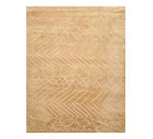 8' x 10' Handmade Wool Designer Modern Oriental Area Rug Tone On Tone Tan 8x10