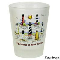 NORTH CAROLINA LIGHTHOUSES FROSTED SHOT GLASS SHOTGLASS